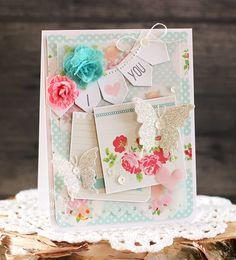 Card by PS DT Laurie Schmidlin using PS Butterfly Duet dies, Cardbooking dies, Sweet Hearts