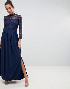 Club L   Club L High Neck Crochet Lace Maxi Dress With Long Sleeves