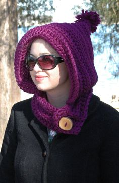The Woodland Pixie Hood in Grape with Rustic Apple by MabeyBaby, $40.00 - etsy