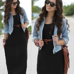 Love maxi dresses with jean jackets
