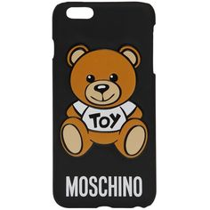 Moschino Women Teddy Bear Iphone 6 Rubber Case ($78) ❤ liked on Polyvore featuring accessories, tech accessories, black and moschino