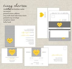 Yellow & Gray Wedding Invitations Chevron by paperimpressions, $332.50