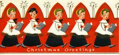 Vintage Christmas card. A Slim 'N Prim card, made in U.S.A. Inside: Joy to you at Christmas and all through the year.