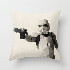 Storm Trooper Star Wars Pillow Cushion Cover Polygon Art Home Decor Vintage Style Science Fiction Sci Fi Character
