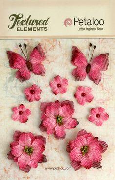 Fushia Burlap Flower blossoms  butterflies 1201-212 (10 pcs) vintage flowers rustic  flowers butterfly wedding decorations scrapbooking