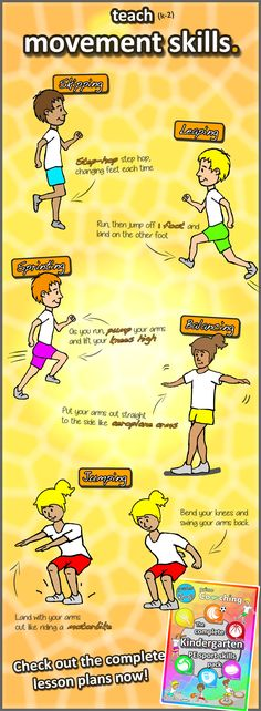 • Teach movement skills • Ideas for your PE lessons for kindergarten kids and grade 1 and 2\'s - Keywords for skipping, leaping, sprinting, balancing and jumping. Check out the complete unit of lesson plans, perfect to get your kids on the way to becoming sport stars!! Available at https://www.teacherspayteachers.com/Product/Kindergarten-Sport-The-Complete-PE-LESSONS-Skills-Games-Pack-grades-K-2-2648214