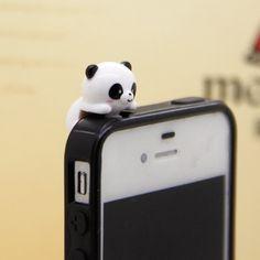 35%OFF Adorable White Black Hanging Panda Dust Plug 3.5mm Phone Accessory Charm Headphone Jack Earphone Cap iPhone 4 4S iPad HTC Samsung by MilanDIY on Etsy https://www.etsy.com/listing/153186249/35off-adorable-white-black-hanging-panda