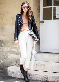 leather jacket with white pants