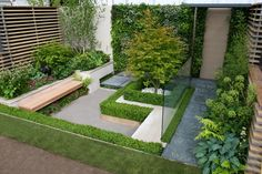 Contemporary small garden designs for small backyard with bench
