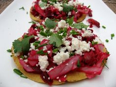 RECIPE: BEET AND CABBAGE TOSTADAS - I know they may sound weird, but these tostadas are extremely good.  Of course, tostadas are delicious with just about any topping.  But this humble vegetarian dish from Guatemala is an unexpected treat.  Served as a main course on its own, or as a side dish with fried fish, this funky looking dish is a delight to serve and eat. - See more at: http://thebaldgourmet.com/recipe-beet-and-cabbage-tostadas/#sthash.urPbXzCK.dpuf