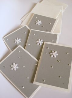 Can use a snow flake stamp instead...   Silver Snowflake Christmas Cards - Set of 10