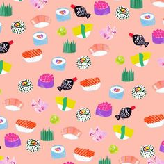 すし - Jessica Singh - illustrator, with a different background colour xx Art And Illustration, Pattern Illustration, Food Illustrations, Surface Design, Surface Pattern, Cute Pattern, Pattern Art, Pattern Design, Pretty Patterns