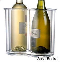 Wine Bucket - Prodyne Twin-Chill 2 Bottle Icelesss Wine Cooler, Clear