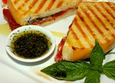 Roasted Red Pepper and Goat Cheese Panini with Basil and Balsamico