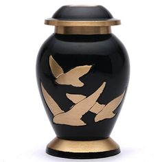 Small Going Home Black Keepsake Cremation Urn Brass Funeral Urn for Ashes -- Click image to review more details.