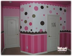 I did my daughters room with the polka dots and a pink wall. It is the cutest thing ever. Love it.