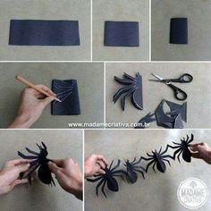 Diy halloween decorations 536280268124510910 - Spider girlande Source by cuchikind Halloween Crafts For Toddlers, Scary Halloween, Halloween Party, Halloween Spider, Adult Halloween, Halloween Activities, Halloween Night, Art Activities, How To Make Spiders