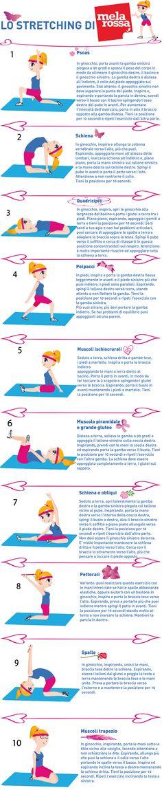 Alcuni pratici esercizi di stretching da fare in casa per allungarti dopo aver svolto attività fisica.