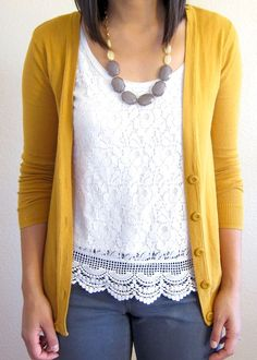 Mustard cardigan, lace top ♠ re-pinned by http://www.wfpblogs.com/author/rachelwfp/