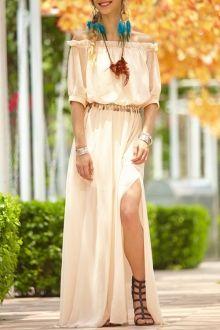 Solid Color Elastic Waist High Slit Maxi Dress