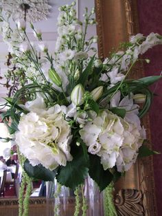 White and green flower arrangement for a pedistal last year.