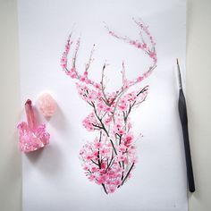 I Watercolor Cherry Blossom Animals (Bored Panda) Nature inspires a lot of my artwork and it has res Cool Tattoos, Body Art Tattoos, Tattoos, Art Tattoo, Drawings, Body Art, Beautiful Art, Deer Tattoo, Tattoo Designs