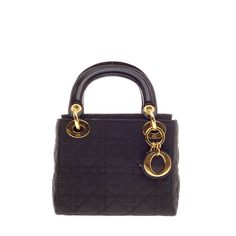 Christian Dior Lady Dior Cannage Quilt Nylon Micro | See more vintage Top Handle Bags at http://www.1stdibs.com/fashion/handbags-purses-bags/top-handle-bags in 1stdibs