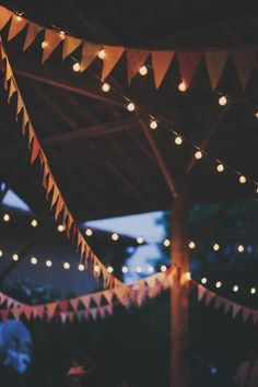pennant garlands and twinkle lights