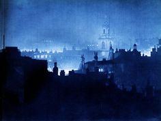 """London Night"" by Harold Burdekin (1934) from Spitalfields Life - St Botolph's Church, City"