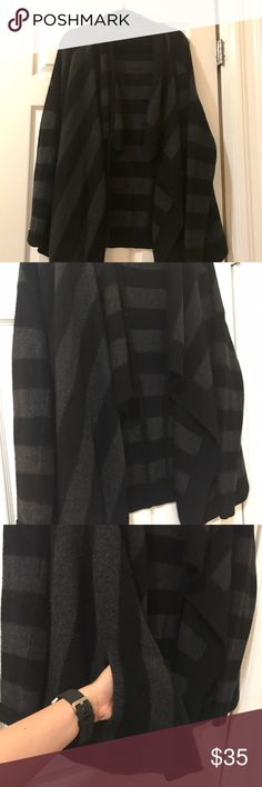 VINCE Cashmere Wool Cardigan Sweater Black and grey striped sweater cardigan with pockets! VINCE size large! So cozy! Vince Tops