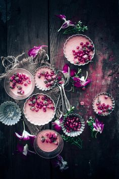Rose flavoured Pots de Creme that is easy to make and served with pomegranate seeds for a romantic treat on Valentine's day