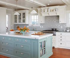 gorgeous kitchen...ideally I would love some overhang on the island counter for some bar stool seating