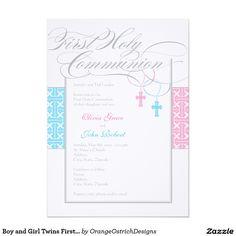 cbfbfb39234bc75dbb1a23c045451700 first communion invitations boys and girls twin boy and girl first communion invitations printable diy pink,First Communion Invitations For Boy Girl Twins