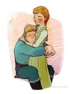"Desperation for Healing Hugs by rain1940.deviantart.com on @deviantART - Kristoff and Anna from ""Frozen"""