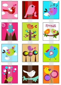Items similar to Birdies - one inch digital sheet of scrabble size x inches) images for scrabble tiles, magnets, stickers etc. Child Draw, Simple Art, Easy Art, Pregnant Belly Painting, Arte Country, Kids Canvas, How To Make Pillows, You Draw, Bird Pictures