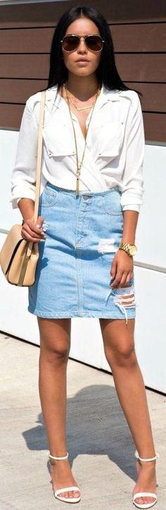 Denim Skirt – Style Ambitions #denim