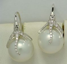 SOUTH SEAS PEARL AND DIAMOND EARRINGS 18K WHITE GOLD