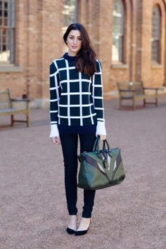 checkered sweater with skinny pants