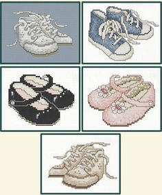 Sue Hillis First Steps - Cross Stitch Pattern. Adorable shoes for the baby's room! An alphabet is included so you can personalize your design. Includes patterns