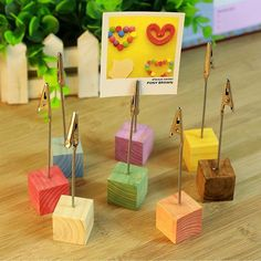 Cheap desk cards, Buy Quality memo photo clip holder directly from China photo clip Suppliers: Pieces/Lot) Wood Cube Picture Stand Holder Clip School Office Supplies Tools Desk Accessories Organizer Joy Corner Picture Table, Picture Stand, Name Card Holder, Place Card Holders, Wedding Table, Wedding Decor, Wedding Menu, Wedding Favors, Gift Card Displays