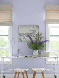 Lavender Mist by Benjamin Moore offers a pop of color without being overwhelming. #countryliving