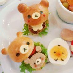 日本人のごはんお弁当 Japanese meals/Bread リラックマミニバーガー Rilakkuma mini hamburger #food #bento #rilakkuma