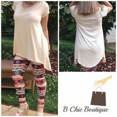 Essential Ivory Tunic Beautiful oatmeal tunic with tapered hi/low hem for excellent coverage. Made of soft rayon and spandex blend. Perfect to pair with leggings also available in my closet. Available in S, L, XL Bchic Tops Tunics