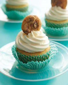 Chocolate Chip Cookie Cupcakes (with cookie dough baked into the center of the cupcakes)!  Yum...