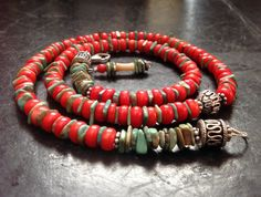 Turquoise and red coral necklace with sterling silver