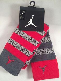 NIKE Jordan Jumpman Socks Size 5Y-7Y Kids White /& Black High Crew 2 Pair
