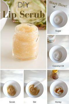 DIY Sugar Lip Scrub – made with sugar, coconut oil, and honey.