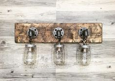 Rustic/ Industrial/ Modern Wood Handmade 3 Mason Jars by Lulight Rustic Vanity Lights, Rustic Bathroom Lighting, Bathroom Light Fixtures, Rustic Bathrooms, Diy Bathroom Decor, Rustic Lighting, Lighting Ideas, Bathroom Ideas, Dark Bathrooms