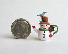 Handmade Miniature CUTE SNOWMAN  BLUE BIRD TEAPOT - by C. Rohal #CRohal