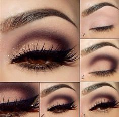 Gorgeous look for brown eyes (or any!): burgundy, light pink, gold shimmer, black winged eyeliner + gold liner.